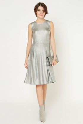 Metallic Box Pleated Midi Dress