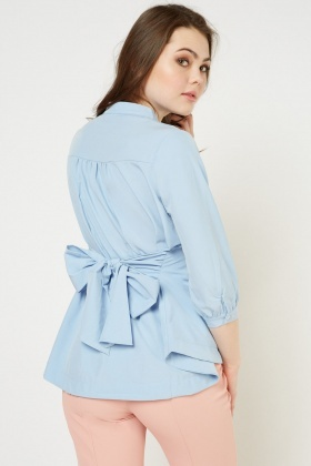 Pleated Flared Hem Blouse