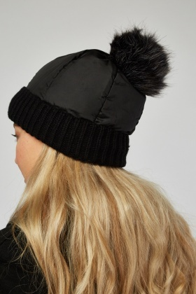 Quilted Rib Trim Beanie Hat