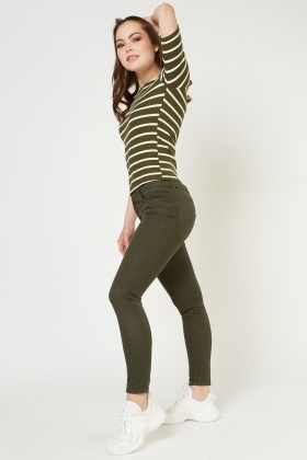 Skinny Fit Khaki Trousers