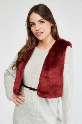 Sleeveless Fur Trim Gilet