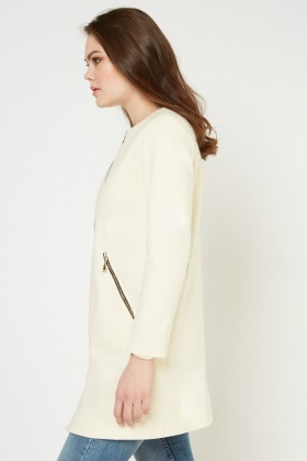 Textured Collarless Duster Coat