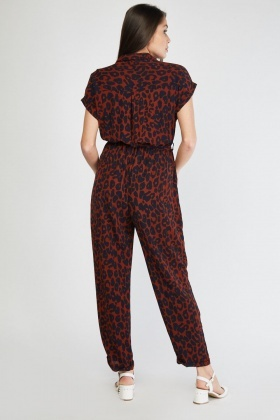 Tie Up Waist Leopard Print Jumpsuit
