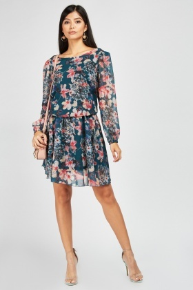 Zibi London Sheer Floral Print Dress