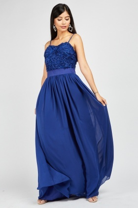 Zibi London Textured Waist Panel Maxi Dress