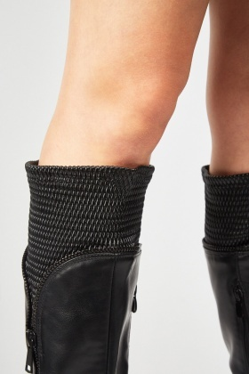 Zipper Trim Block Heel Boots