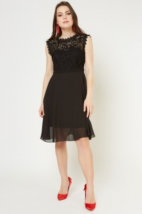 Crochet Bodice Sheer A-Line Dress