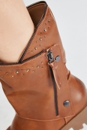 Detail Encrusted Faux Leather Boots