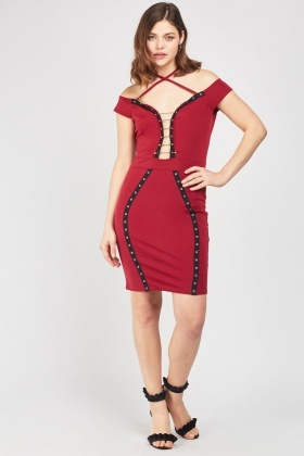 Eyelet T-Bar Trim Bodycon Dress