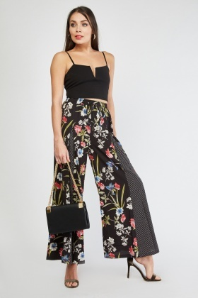Floral Polka Dot Contrast Trousers
