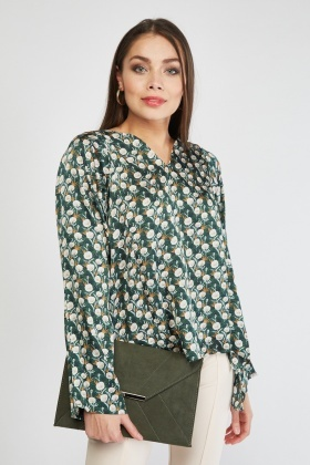 Flower Print Sateen Blouse