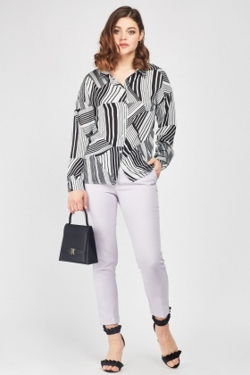 Geometric Striped Print Shirt