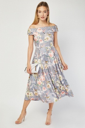 Jolie Moi Box Pleated Bardot Dress