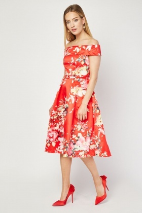 Jolie Moi Printed Midi Bardot Dress