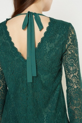 Lace Overlay Tunic Dress
