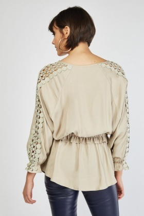Laser Cut Crochet Sleeve Blouse