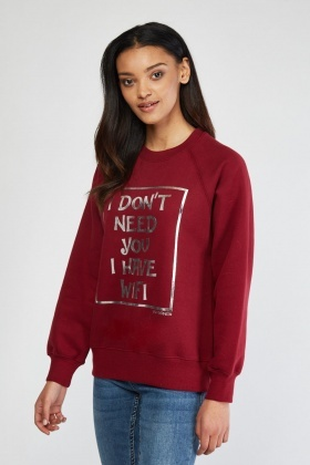 Metallic Slogan Front Sweatshirt