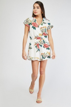 Ruffle Hem Flower Print Playsuit