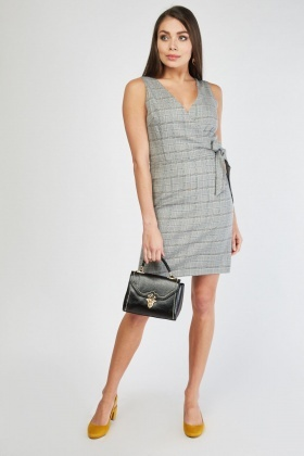 7d4e9fbd9c Sleeveless Mini Plaid Wrap Dress
