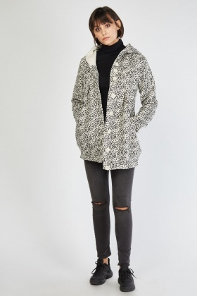 Speckled Printed Hooded Jacket