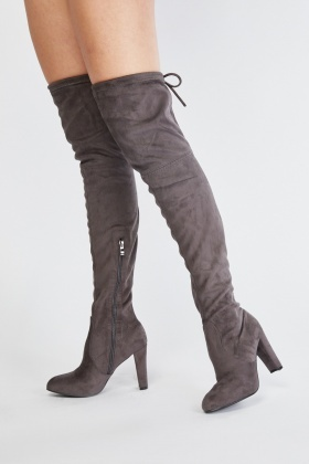 57375fbb0a1 Suedette Tie Up Heeled Boots