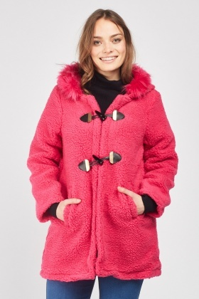 Textured Toggle Front Coat