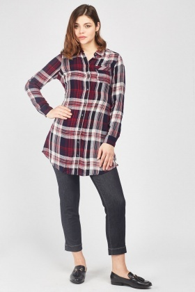 Tie Up Back Checkered Shirt Dress