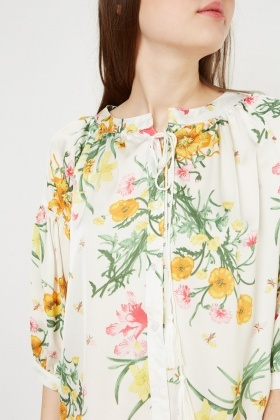 Tie Up Tassel Front Floral Blouse