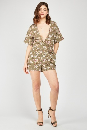 Tie Up Waist Floral Playsuit