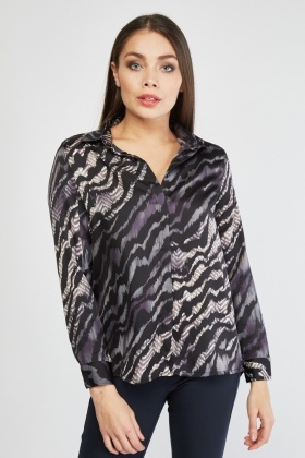 Tiger Printed Sateen Shirt