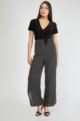 Wide Leg Sheer Polka Dot Trousers