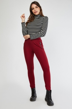 Zipper Trim Skinny Treggings