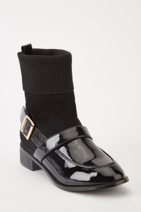 Contrasted Sock Overlay Boots