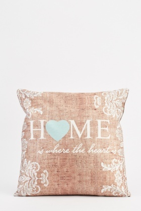 Heart Print Contrasted Cushion