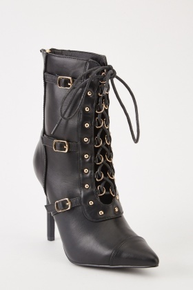 Lace Up Buckle Trim Boots