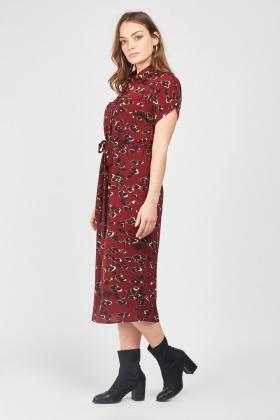 3242caa57d5 Animal Print Midi Shirt Dress - Maroon Multi - Just £5