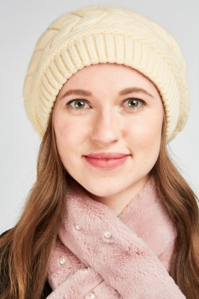 Chunky Cable Knit Beanie Hat