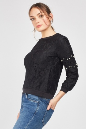Crochet Pearl Trim Lace Sweatshirt