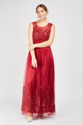 Embroidered Net Overlay Maxi Dress