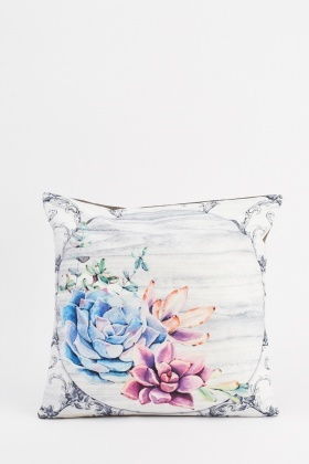 Faded Effect Floral Cushion