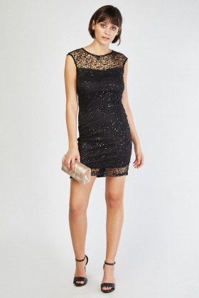Sequin Crochet Overlay Illusion Dress