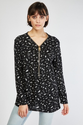 Zipper Front Printed Top