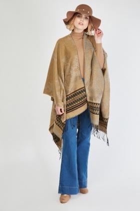 Embroidered Woven Poncho