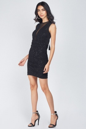 Glitter Scattered Mesh Illusion Dress