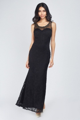 Illusion Neckline Embellished Dress