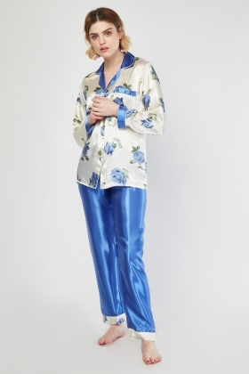 Rose Printed Sateen Pyjama Set