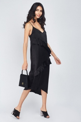 Ruffle Overlay Midi Slip On Dress