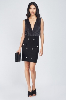 Velveteen Contrast Bodycon Dress