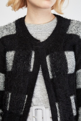 Window Pane Eyelash Knit Cardigan