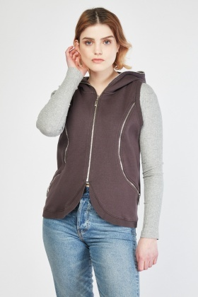 Zipper Trim Sleeveless Hooded Gilet